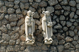 white Christian statues of Montserrat , Spain