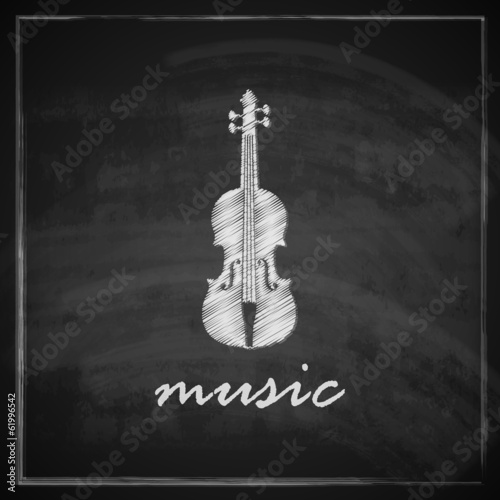 illustration with the violin on blackboard background.