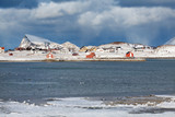 Remote norwegian village over arctic circle