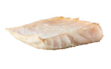 Piece of white fish fillet isolated. Pangasius