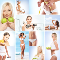 Healthy eating, sport, vegetarian food and beautify collage