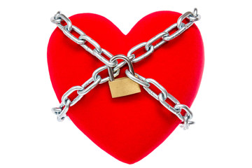 Red heart locked on padlock