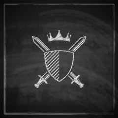 illustration with a coat of arms on blackboard background