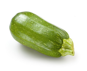 Zucchini. Green courgette on white background