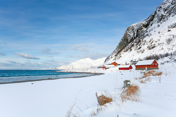 Red houses on a norwegian snowy beach