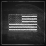 illustration with United States flag on blackboard background