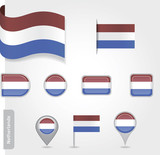 The Netherlands flag - set of icons and flags