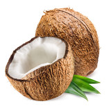 Fototapety Coconut with leaf on white background