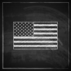 illustration with United States flag on blackboard background