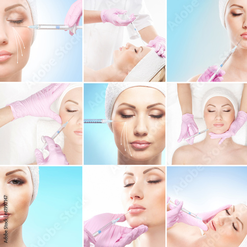 A collage of young women on a face lifting procedure