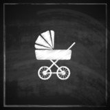 vintage illustration with a pram on blackboard background.