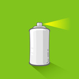 aluminum spray can on green background. aerosol spray can
