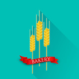 illustration with ears of wheat and red ribbon. bakery sign.