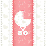 Greeting card of newborn baby girl. Vector EPS 10.