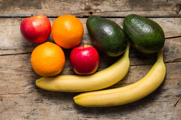Various Fruits on wooden Background