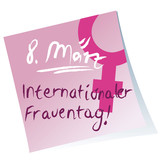 Post-it,internationaler Frauentag,Handschrift,pink,Vektor