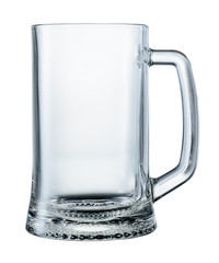 Empty beer mug isolated on white background. With clipping path