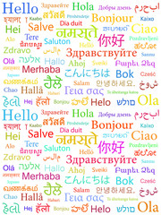The word Hello written in different world languages