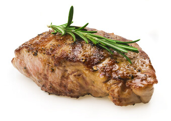 Grilled steak on white background