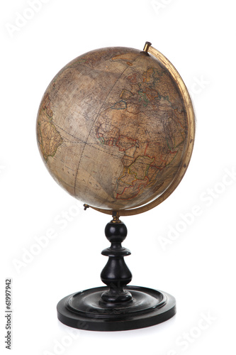 antique globe in Russian isolated on white background