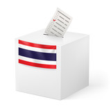 Ballot box with voicing paper. Thailand