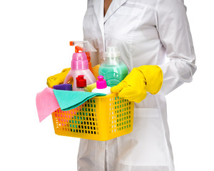 Cleaner maid woman with plastic basket and cleaning supplies