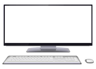 Modern desktop computer with blank screen