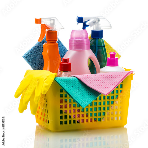 Plastic basket with cleaning supplies