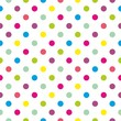 Seamless vector colorful polka dots pattern on white background