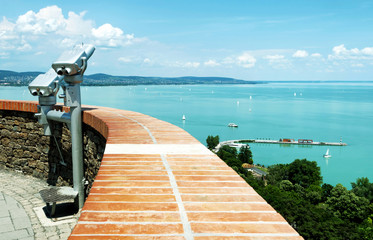 Panorama to Lake Balaton from Tihany Peninsula, Hungary
