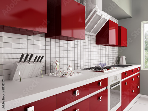 Modern red kitchen interior 3d