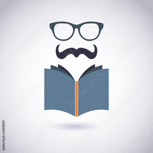 Book icon with Glasses and Mustache. Hipster style. Vector