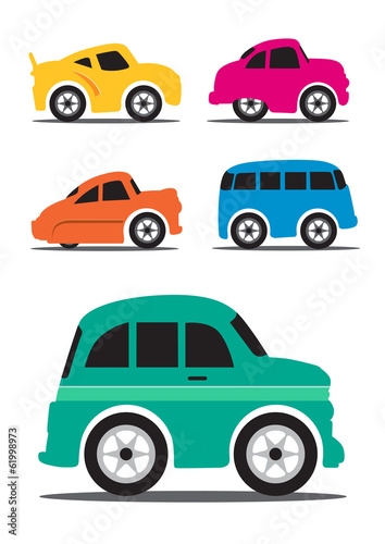 Different Retro / Vintage Car Cartoon - Vector Illustration