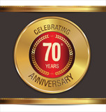 Anniversary golden label, 70 years