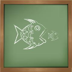 big fish eats small one on blackboard background