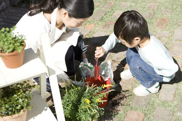 mother and boy gardening