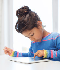 little girl with tablet pc