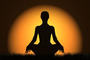 Meditación, silueta de mujer, sol, amanecer