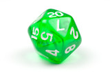 A single green, translucent twenty-sided die