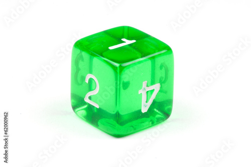 A single green, translucent six-sided die
