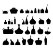 Vector illustration of bottles and glasses set.