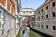 Famous Bridge of Sighs over the canals of Venice, Italy