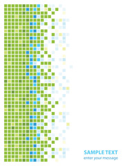 abstract green blue squares, sample text