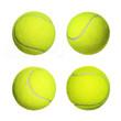 Leinwanddruck Bild - Tennis Ball Collection isolated on white background. Closeup