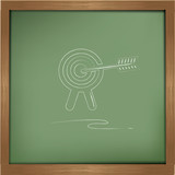 Target drawing on blackboard background
