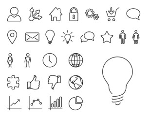 Modern thin line icon set
