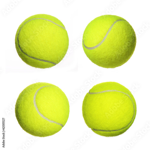 Foto op Canvas Egg Tennis Ball Collection isolated on white background. Closeup