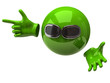 Green sphere with sun glasses and hand with index finger