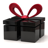 Illustration of  abstract black gift with red bow