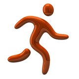 Orange running man icon